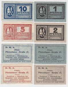 1,2,5 & 10 Pfennig Banknoten Notgeld Dresden D.M.A. Pfotenhauerstraße 37(117900)