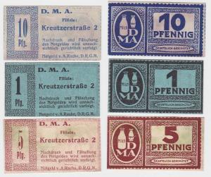 1,5 & 10 Pfennig Banknoten Notgeld Dresden D.M.A. Kreutzerstraße 2 (112808)