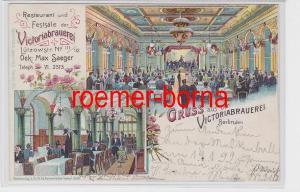 82248 Ak Lithografie Gruss aus der Victoriabrauerei Lützowstr. Berlin 1899