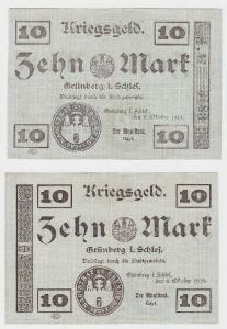 10 Mark Banknote Notgeld der Stadt Grünberg i.Schlesien 8.10.1918 (118861)