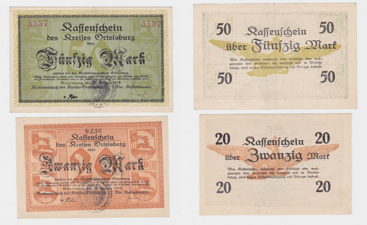 20 und 50 Mark Banknoten Notgeld Kreis Ortelsburg Szczytno 30.10.1918 (119976) 0
