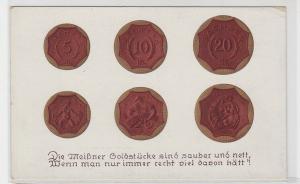 71271 Reim Ak Porzellan Münzen Sachsen 1921 aus Böttgersteinzeug