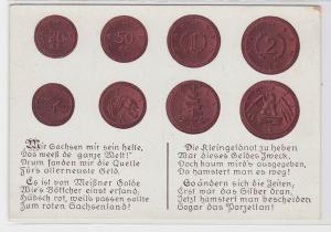 68447 Reim Ak Porzellan Münzen Sachsen 1921 aus Böttgersteinzeug