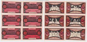 6 Banknoten Notgeld Gemeinde Kurzermoor o.D. (1921) (121278)