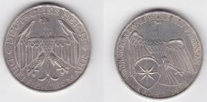Silbermuenze 3 Mark Vereinigung Waldeck mit Preussen 1929 A (125830)