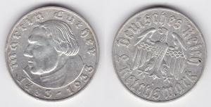2 Mark Silber Münze 3.Reich Martin Luther 1933 A (125574)