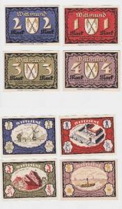 Komplette Serie mit 4 Notgeld Banknoten Wittmund 1922 (119252)