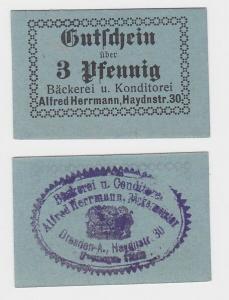 3 Pfennig Banknote Dresden Bäckerei Alfred Herrmann Haydnstraße 30 (116401)