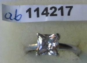Klassischer Damenring 925er Silber mit weißem Stein (114217)