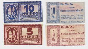 5 und 10 Pfennig Banknoten Notgeld Dresden D.M.A. Striesnerstraße 47 (110720)