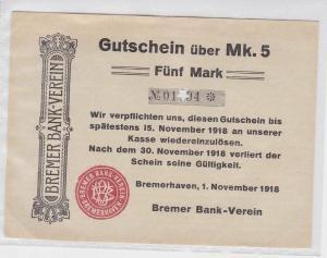 5 Mark Banknote Bremer Bank-Verein Bremerhaven 1.11.1918  (119407)