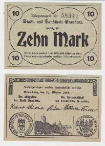 10 Mark Banknote Notgeld der Stadt & Landkreis Graudenz 21.10.1918 (118671)