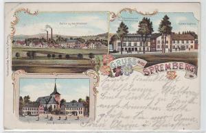 69714 Ak Lithographie Gruß aus Spremberg Warenhaus, Gasthaus, Schule 1904