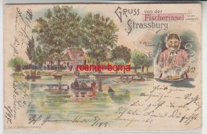 78944 Ak Lithographie Gruß von der Fischerinsel Strassburg 1898