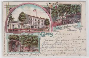 92643 Ak Lithographie Gruß aus dem Conzertgarten P.Schwarz Lichtenberg 1900