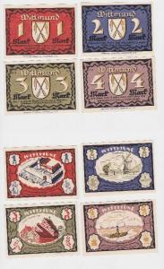 Komplette Serie mit 4 Notgeld Banknoten Wittmund 1922 (118961)