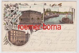 81886 Ak Lithografie Gruss aus Stettin Koncerthaus, Börse, Hafen 1900