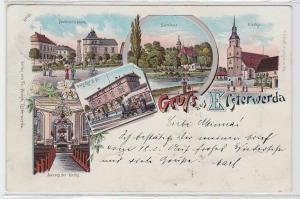 93337 Ak Lithographie Gruß aus Elsterwerda Bahnhof, Seminar usw. 1899