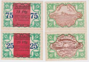 2 Banknoten Notgeld Gemeinde Schobüll 1.Juni 1921 (122451)