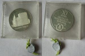 DDR Gedenk Münze 10 Mark Charité Berlin 1986 Silber PP verplombt (104947)