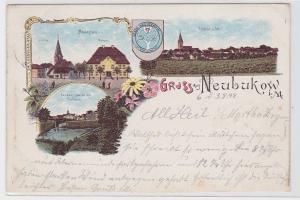 78181 Lithografie AK Gruss aus Neubukow i.M. - Marktplatz Kirche & Posthaus 1898