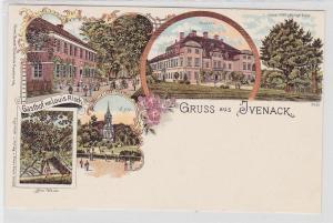 44594 Lithografie AK Gruss aus Ivenack - Gasthof, Schloss, See-Weide & Kirche