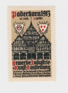 Seltene Vignette Gewerbe Industrie und Kunst Ausstellung Paderborn 1913 (92949)