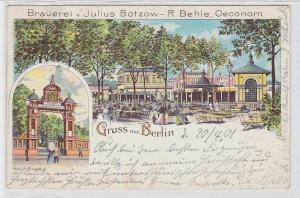 91644 Ak Lithographie Gruß aus Berlin Brauerei von Julius Bötzow 1901