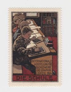 Seltene Vignette Internationale Ausstellung für Buchgewerbe Leipzig 1914 (86227)