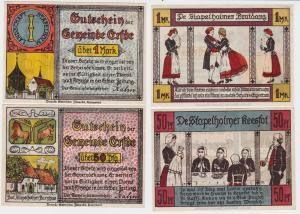 2 Banknoten Notgeld Gemeinde Erfde ohne Datum (1921)  (116027)