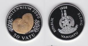 50 Vatu Silber Münze Vanuatu Millennium 2000 PP 1998 RAR (134879)