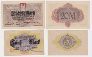 5 & 20 Mark Banknoten Notgeld Stadt Altona 2.November 1918 (121685)