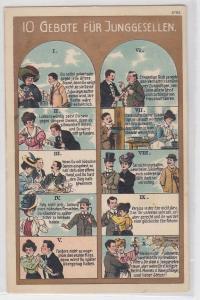90619 Humor Ak 10 Gebote für Junggesellen um 1910
