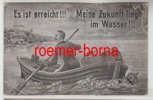 80335 Ak Satire Wilhelm II Meine Zukunft liegt im Wasser Ruderboot Korfu um 1910