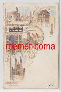 81841 Ak Lithographie Gruss aus Nürnberg Stadtansichten 1902