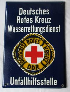 DDR Schild Deutsches Rotes Kreuz Wasserrettungsdienst Unfallhilfsstelle (134976)