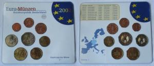 BRD KMS Kursmünzensatz Umlaufmünzenserie 2002 - J - Hamburg Stgl. (135008)