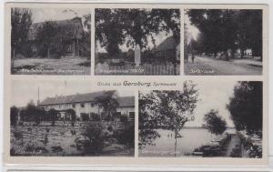 92098 AK Gruss Geroburg - Kriegerdenkmal, Geroburger See, Rosenhof & Scheune
