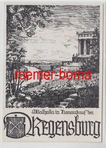 76131 Künstler Ak Walhalla in Donaustauf bei Regensburg 1947