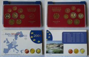 BRD KMS Kursmünzensatz Umlaufmünzenserie 2004 - F - Stuttgart PP (135154)