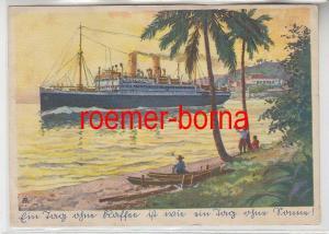 82895 Reklame Ak Eduscho Kaffee-Dampfer verläßt südamerikanischen Hafen um 1940