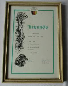 DDR Urkunde Sieger im soz. Wettbewerb Hegegruppe Ehrenhain 1973 (134831)