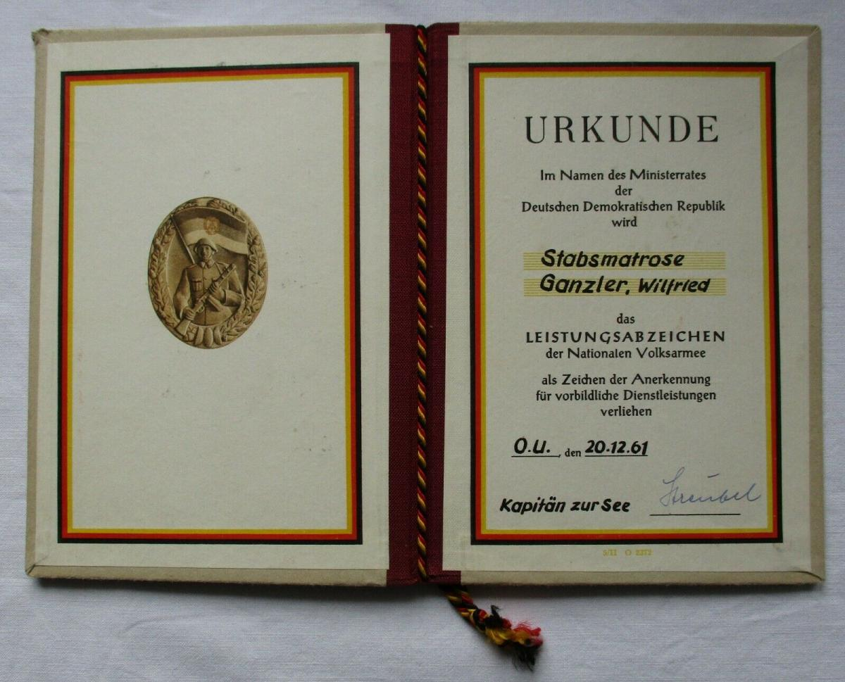 DDR Urkunde Leistungsabzeichen der NVA 1961 Volksmarine Bartel 152 f (134992) 0