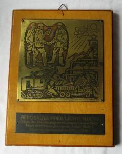 DDR Ehrenplakette Bergbaubetrieb Lichtenberg Träger VVO Banner d Arbeit (135320)