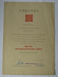 DDR Urkunde Brigade der sozialistischen Arbeit