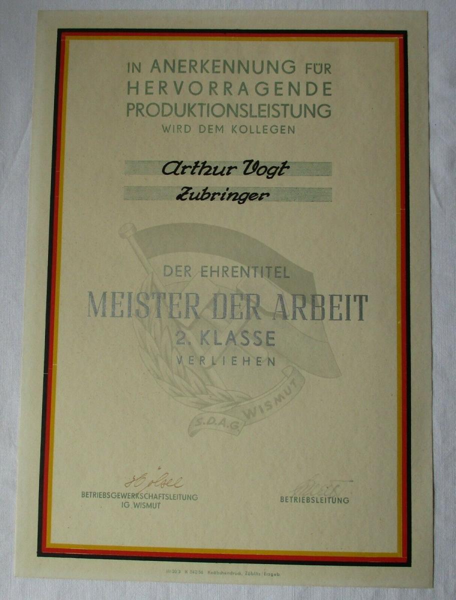 DDR Urkunde Meister der Arbeit 2. Klasse SDAG Wismut Zubringer (135350) 0