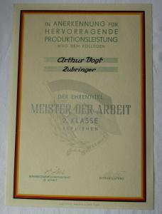 DDR Urkunde Meister der Arbeit 2. Klasse SDAG Wismut Zubringer (135350)