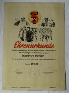 DDR Ehrenurkunde Hauptverwaltung der AG Wismut Industriegewerkschaft (135354)
