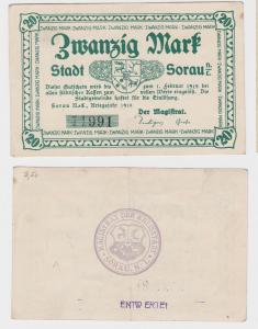 20 Mark Mark Banknote Kriegsnotgeld Stadt Sorau N.-L. 1918 (120018)