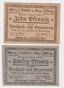 2 Banknoten Notgeld Sparverein Lutter am Barrenberge 1917 (118991)